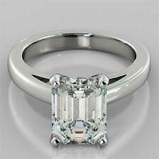 2Ct Emerald Cut Moissanite Rings Genuine14K White Gold Wedding Engagement Rings