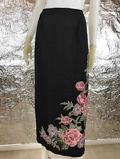 Sale Vintage Black with Pink Floral Printed 1990's Maxi Skirt, Size L, Pre-Owned