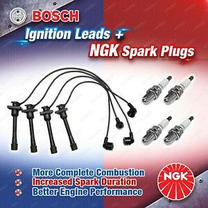 4 x NGK Spark Plugs + Bosch Leads Kit for Toyota Corolla AE101 AE111 Paseo EL44