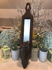 Country Shabby Chic Pillar Candle Holder Wall Sconce Wood Mirror