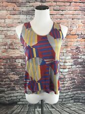 Anagram Geometric Women's Tank Top - Size 6 - Yellow Red Blue - SILK