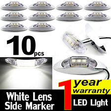 10X WHITE 10V-30V Side Light 3 LED Marker Trailer Clearance Lamp Chrome Base