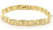 """Real Solid 14k Yellow Gold Nugget Bracelet 7"""" - 7.5"""" 7mm 15 grams"""