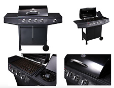 CosmoGrill 4+1 Large Outdoor Gas Black Barbecue BBQ Grill plus Side Burner D48