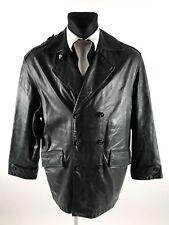STONES Men's Black Real Leather Double Breasted Coat Size EU48 UK38