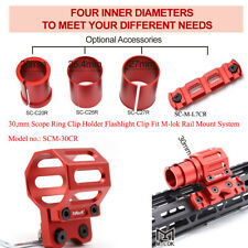 Tactical Flashlight Scope Ring Clip Holder Fit M-LOK Rail Mount System_Red Color
