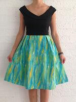 Women's Black Green Fit & Flare Eve Cocktail Formal Racer Dress Size 10-12-14-16