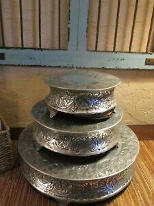 3 Piece Silver Pewter Cake Stand Display Set, Elegant silver design,