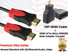 10FT 1.4 GOLD-PLATED HDMI Cable +HDMI to Micro HDMI F/M Adapter Black