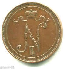 NICOLA II ZAR DI RUSSIA FINLANDIA 10 PENNIA 1907 MONETA IN RAME