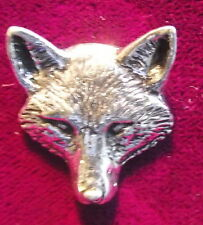 NEW Pewter  Fox Head Mask Hunting Shooting Brooch Pin