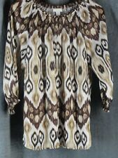 Chico's 1 Medium Brown Abstract Print 3/4 Sleeve Blouse Top Chicos