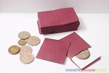 """50 x New Coin Paper Envelopes 2""""x2"""" w/ Flap Dark Red Fit to Cardboard Coin Flip"""