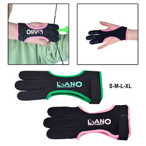 Leather Archery Gloves Three Finger Guard Protective for Men Women & Youth