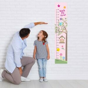 Personalised Girls Cute Birds Measure Height Fabric Growth Chart Add Name DOB +