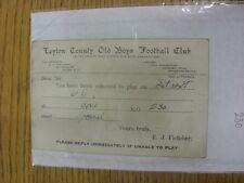 Condado de chicos Antiguo 30/12/1936 Leyton: tarjeta de selección V desconocido oposición, como enviado
