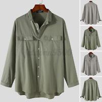 Men's Long Sleeve Cargo Work Shirt V Neck Casual Formal Button Down Tops Shirts