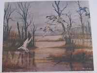 """Vtg John Le Roi Sheffer Wildlife Mallards Ducks Signed Wall Art Print 24"""" x 18"""""""