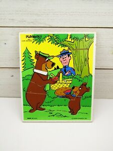 1980 Playskool 16 piece Yogi Bear Boo Boo Hanna Barbera Wooden Puzzle  #340-7