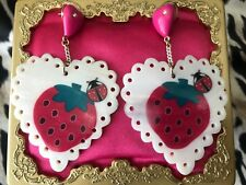 Betsey Johnson Vintage Sweetie Pie Strawberry Ladybug Shell Pink Heart Earrings
