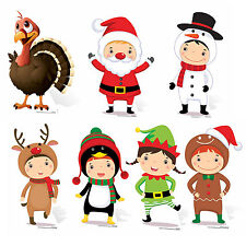 Christmas Themed Mini Cardboard Cutout Collection Set Festive -  7 Cutouts