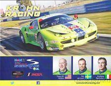 2014 Krohn Racing Ferrari 458 Italia GT2 GTLM Sebring IMSA TUSC B/B postcard