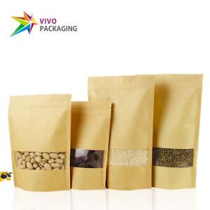 Kraft Paper Stand Up Doy Pouch, Zip Lock Food Bags, Window Zipper Bags (100 pcs)