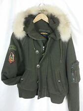 POLO RALPH LAUREN RUGBY COYOTE FUR ARMY PATCHES GREEN SWEATER HOODIE REMOVABLE M