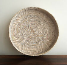 Tray, rattan, white washed, small, 460mm(diam), round, serving, handmade, decor