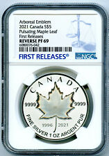 2021 $5 1 OZ CANADA SILVER PULSATING MAPLE LEAF NGC PF69 REV PROOF MINTAGE 3K