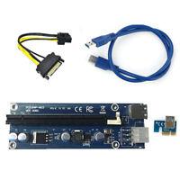 PCI-E PCI Express 1X to 16X Ver006C Riser Card USB 3.0 Extender SATA Power Cable