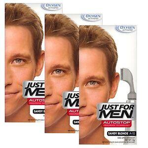 3X Just For Men Auto Stop Mens Hair Colouring Dye Colour Restor Sandy blonde A10