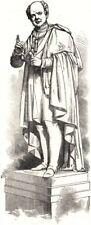 Estatua del poeta Moore, en Dublín. Irlanda, antiguo de impresión, 1857