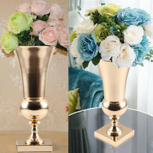 43cm Large Stunning Golden Iron Luxury Flower Vase Urn Wedding Table Home Decor