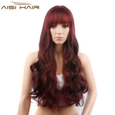 Long Wavy Wigs with Bangs Synthetic Red Full Wig for Women African American Wigs