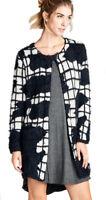 JODIFL Womens Black Stretch Knit Chic Open Front Cardigan Sweater Jacket S M L