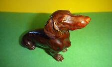 Antique Dackel Dog Glazed Plaster Chalkware Statue