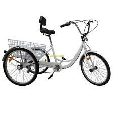 "3-Wheel  24"" Tricycle Trike Adult Bike Bicycle Cruise 6-Speed W/ Basket White"