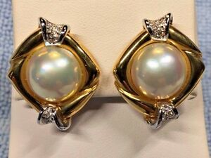 MABE PEARL EARRINGS WITH DIAMONDS SET IN 18KT YELLOW GOLD RETAIL $ 1995.00