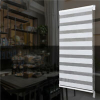 H95 Custom To Size White Horizontal Window Shade Blind Zebra Dual Roller Blinds