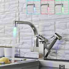 LED Kitchen Sink Faucet Single Handle Pull Out Sprayer Swivel Spout Mixer Tap