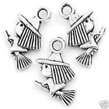 10 Tibetan Silver Witch on Broomstick Pendant Halloween Charms