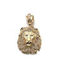 10k Yellow Gold Solid Lion Head Lion Face Charm Pendant 7.30 grams