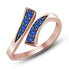 Cut Blue Sapphire 18K Rose Gold Fn Channel Set Adjustable Toe Ring 0.35Ct Round