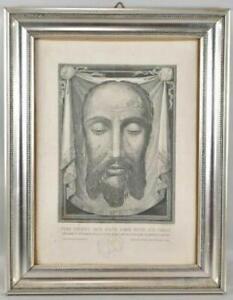 True Face of Christ Veronica's VEIL Sudarium MANDYLION RELIC Papal Seal & Frame