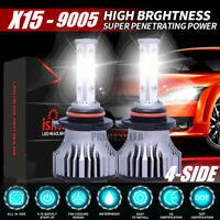2x 4-Sides 9005 CREE LED Headlight Kit 2000W HB3 300000LM 6000K High Power BulbS