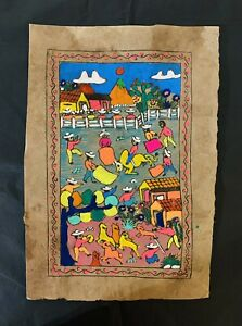 Mexican bark art hand painted Rodeo Scene Bright Rare Fair Trade Traditional New