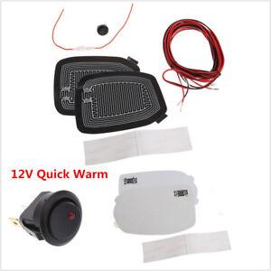 2x Universal 12V Car Side Mirror Glass Heater Heated Defogger Pad Mat Quick Warm