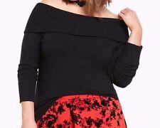 Torrid Foldover Collar Sweater Black Plus Size: 2 aka 18 20 2X  #26490
