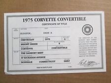 Danbury Mint Paperwork 1975 Chevy Corvette Convertible